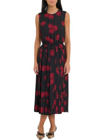 Simone Rocha Floral Print Dress With Pleated Skirt