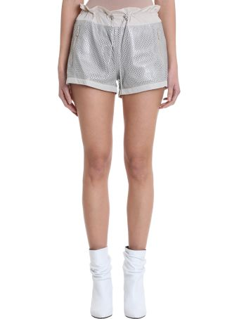 DROMe Silver Perforated  Leather And Nylon Fabric Shorts