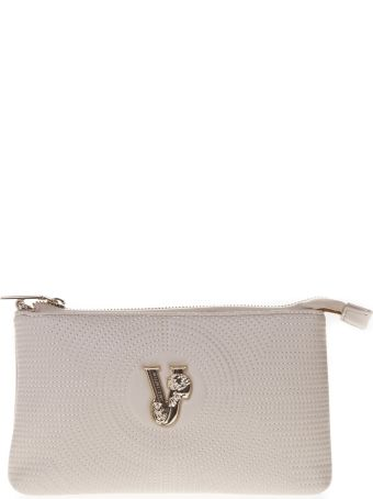 Versace Ivory Faux Leather Clutch With Shoulder Strap