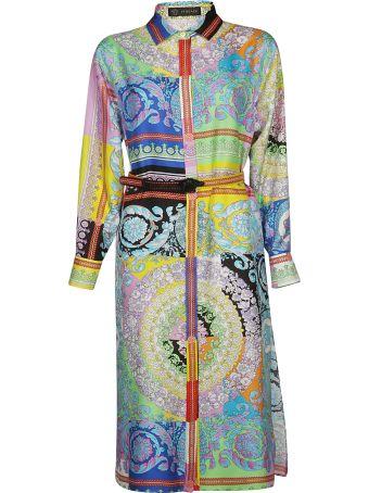 Versace Belted Pattern Dress