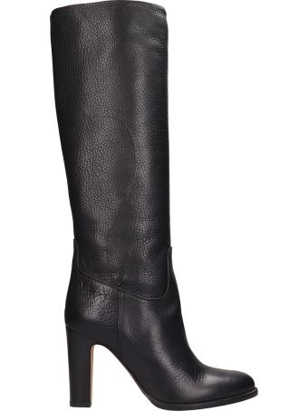 Julie Dee Black Leather High Boots