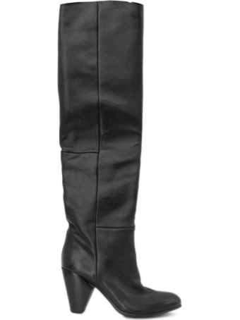 Strategia Black Stretch Leather Over-the-knee Boots.