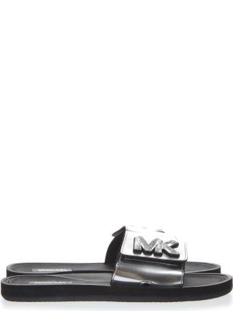 MICHAEL Michael Kors Metallic Silver Leather Slides With Mk Logo
