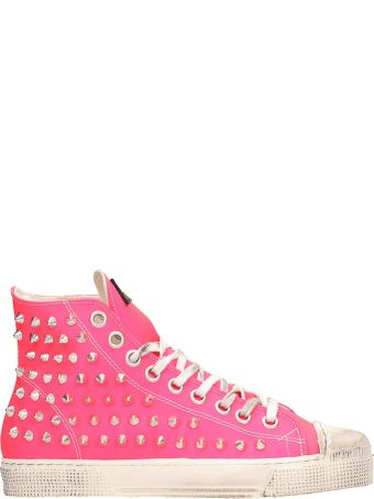 Gienchi Rubberized Leather Jean Michel Pink Sneakers