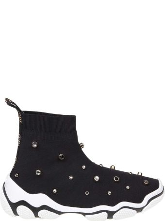 RED Valentino Sneakers In Stretched Knit Black Color