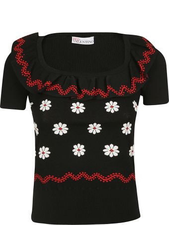 RED Valentino Floral Intarsia Knitted Top
