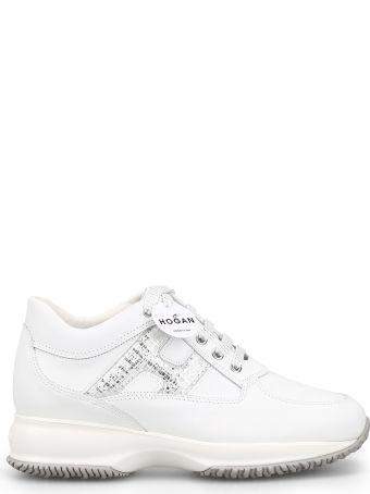 Hogan Interactive Laminated H White Leather Sneaker Hxw00n0s361kjt0351