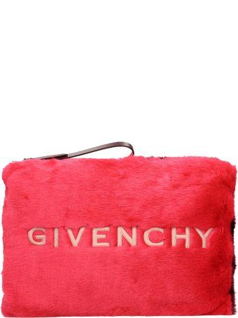 Givenchy Large Pink Faux Fur Pochette