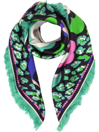 Emilio Pucci Pink/green Pop Flower Print Twill Silk Square Scarf W/fringes