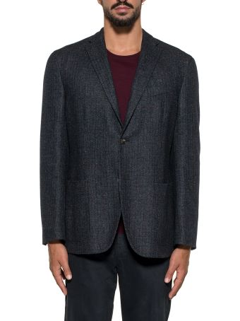 Boglioli Blue/bordeaux Checked Wool Blazer