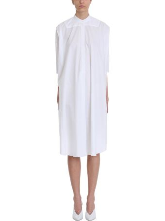 Mauro Grifoni White Cotton Mao Collar Dress