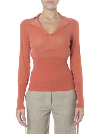 Jacquemus Orange Blend Cotton Sweatshirt With Notched Collar