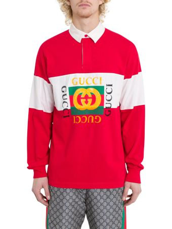 Gucci Oversize Cotton Polo With Gucci Logo Red