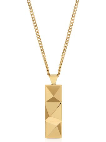 Northskull In N Out Tag Necklace Yellow Gold