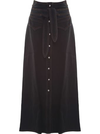 Nanushka Alma Cotton-denim Western Midi Skirt