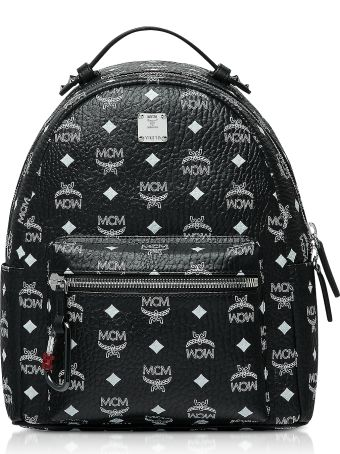 MCM Black Stark Backpack W/white Logo Visetos 32