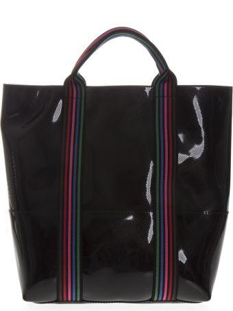Gianni Chiarini Black Vinyl Shopping Bag With Shoulder