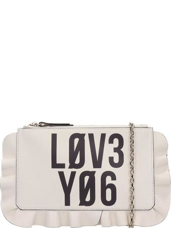 RED Valentino Beige Leather Clutch Rouche Bag