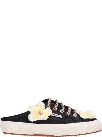 Alanui Black Canvas Sabot Flower Sneakers
