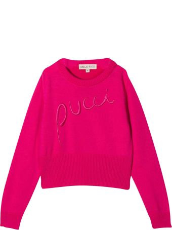 Emilio Pucci Fuchsia Teen Shirt With Frontal Logo Embroidery