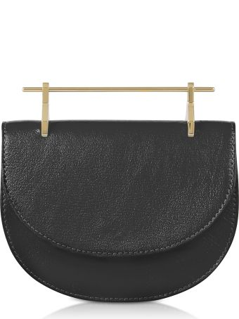 M2Malletier Black Leather Mini Half Moon Bag