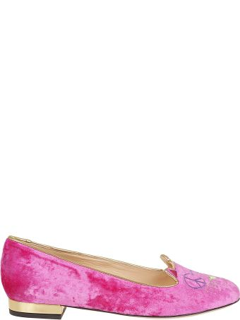 Charlotte Olympia Embroidered Velvet Slippers