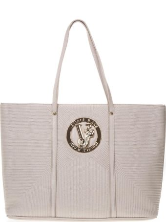 Versace Shopping Bag In Ivory Faux Leather With Logo