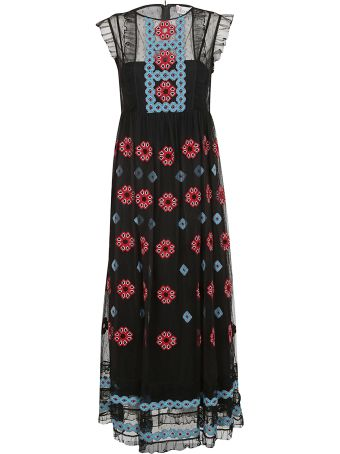 RED Valentino Embroidered Mesh Maxi Dress