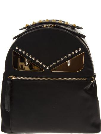 Fendi Black Backpack In Nylon And Leather