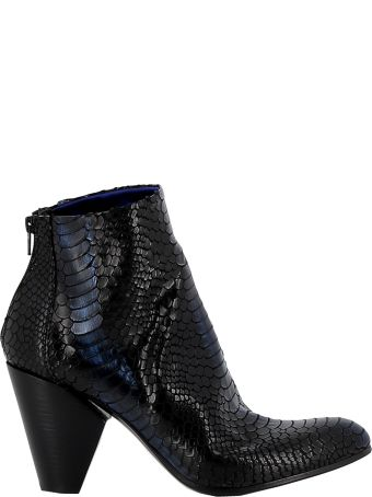 Elena Iachi Black/blue Leather Ankle Boots
