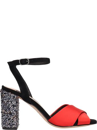 Bibi Lou Red Black Satin Sandals