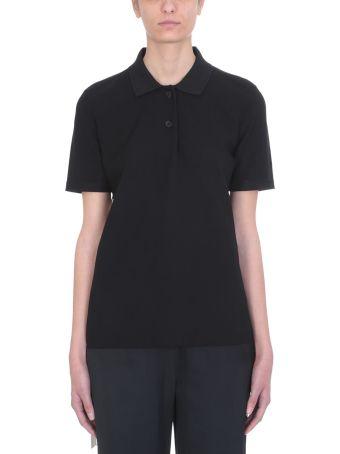 Jil Sander Black Viscose Polo Shirt