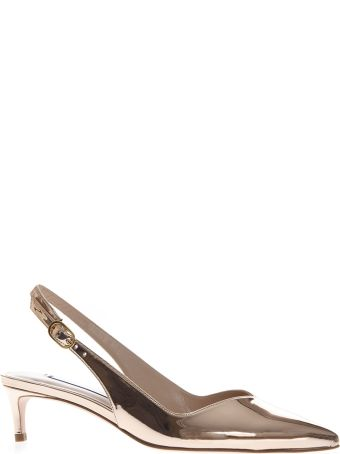 Stuart Weitzman Mirror Effect Rose Leather Slingback