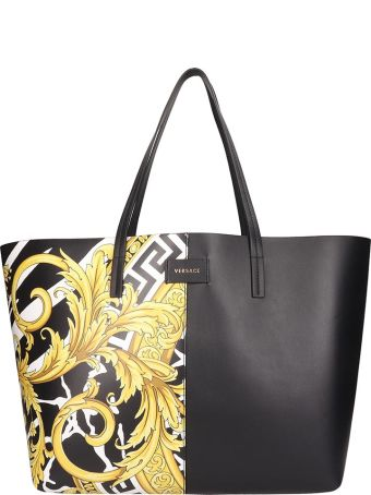 Versace Black Quilted Leather Tote Bag