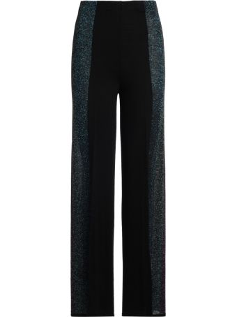 Circus Hotel Black Fabric And Multicolor Lurex Trousers.