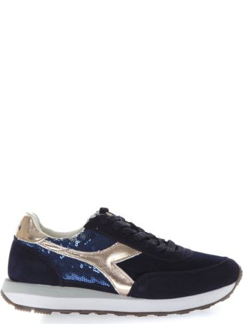 Diadora Heritage Blue Sneakers With Suede Inserts And Sequins Applied