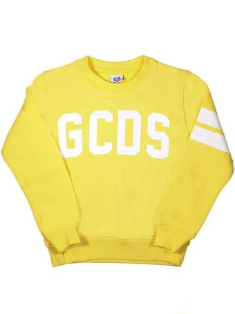 GCDS Mini Yellow Sweatshirt With Logo And White Stripes