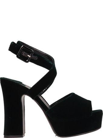 The Seller Green Velvet Sandals