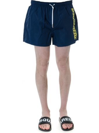 Dsquared2 Blu Navy Swim Shorts In Technical Fabric