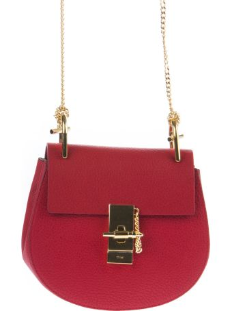 Chloé Mini Drew Plaid Red Grained Nappa Leather Bag