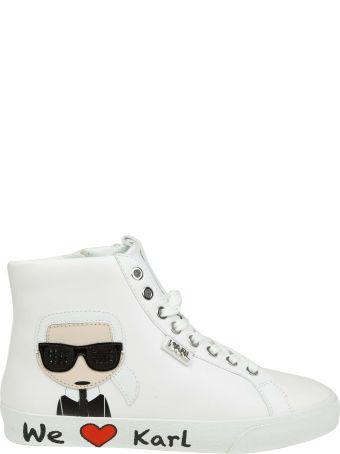 Karl Lagerfeld White Leather Sneakers With Applied Detail