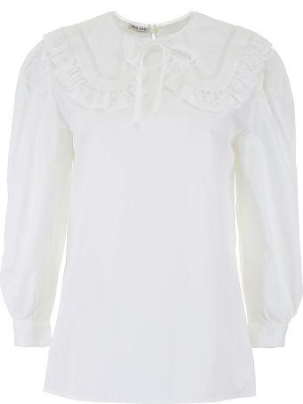 Miu Miu Cotton Blouse With Lace Details