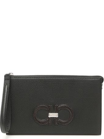 Salvatore Ferragamo Clutch With Woven Logo
