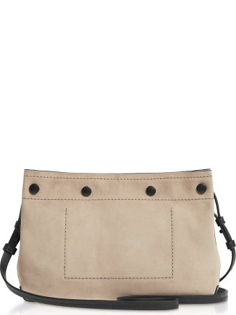 Rag & Bone Warm Grey Suede Compass Snap Crossbody Bag