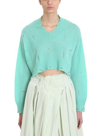 Maison Flaneur V Neck Mint Cashmere Sweater