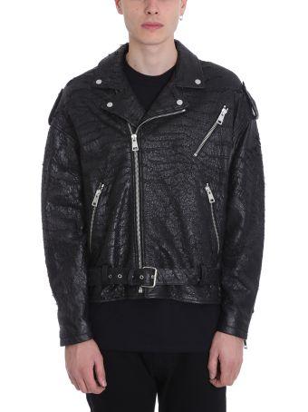 REPRESENT Black Leather Biker Jacket