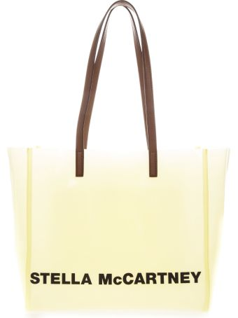 Stella McCartney Transparent Pastel Yellow Tote Bag With Logo Print