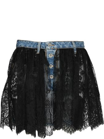 Ben Taverniti Unravel Project Unravel Reverse Lace Denim Skirt
