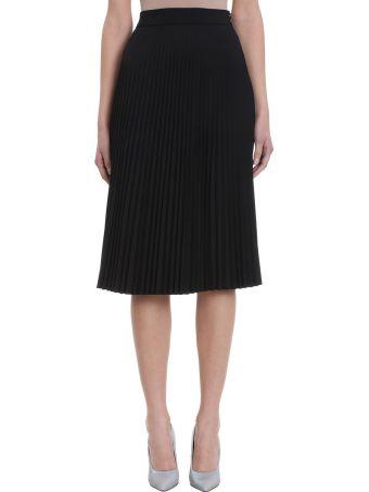 VETEMENTS Pliss? Black Viscose Skirt