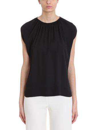 Theory Black Silk Gathered Slit Neck Short-sleeve Top
